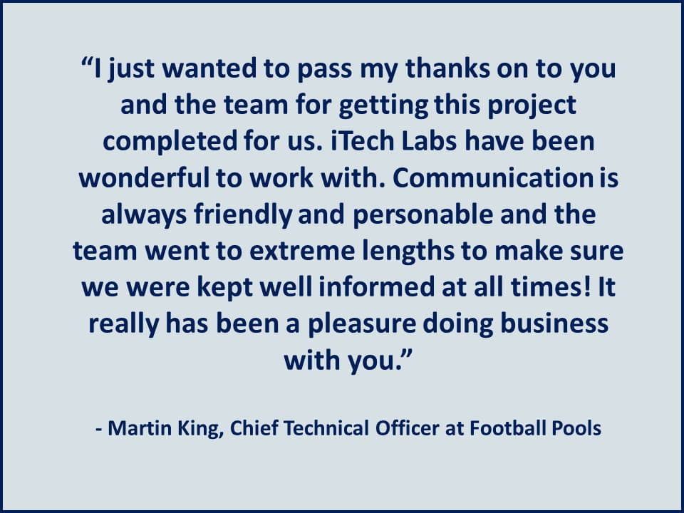 It really has been a pleasure doing business with you - Football Pools