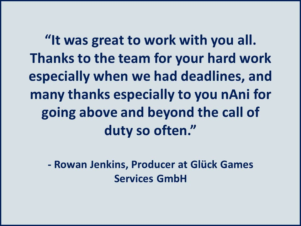 It was great to work with you all - Gluck Games