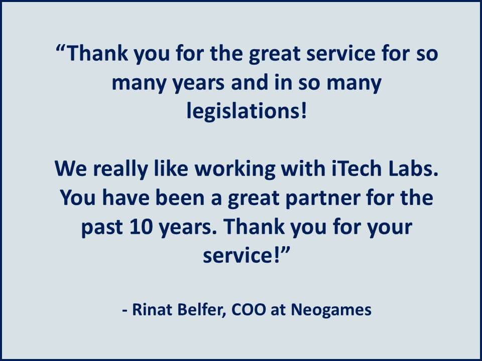 Thank you for the great service for so many years and in so many legislations! - Neogames